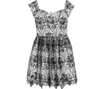 Izabelle off-the-shoulder embroidered tulle mini dress