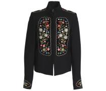 Embellished velvet-appliquéd gabardine jacket