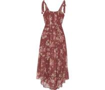 Woman Unbridled Gathered Floral-print Silk-georgette Midi Dress Burgundy
