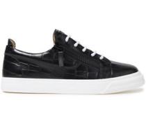 Woman London Zip-detailed Croc-effect Leather Sneakers Black