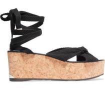 Knotted woven platform sandals
