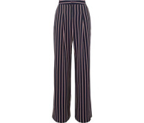 Unique striped twill wide-leg pants