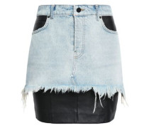 Stretch Leather-paneled Denim Mini Skirt Light Denim