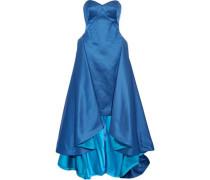 Strapless draped silk-faille gown