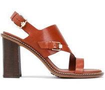 Cutout Leather Sandals Light Brown