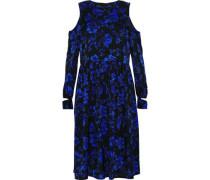 Mariana cold-shoulder floral-print silk-blend crepe de chine dress