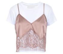 Woman Layered Lace-paneled Silk-satin Camisole And Cotton-jersey T-shirt White
