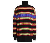 Shell-trimmed striped wool turtleneck sweater