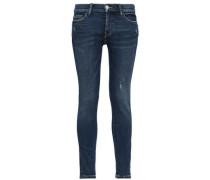 Distressed Mid-rise Skinny Jeans Dark Denim  5