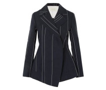 Double-breasted Pinstriped Linen And Cotton-blend Blazer Navy