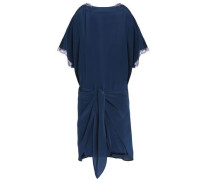 Lace-trimmed tie-front silk dress