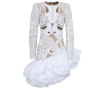 Embellished Tulle Midi Dress White