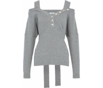 Striped cold-shoulder wool sweater