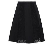 Crocheted Crepe Mini Skirt Black