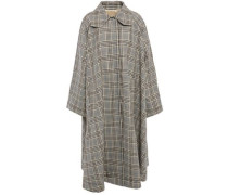 Woman Prince Of Wales Checked Wool-blend Coat Black
