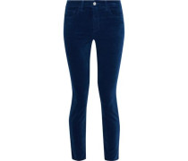 Margot cropped cotton-blend velvet skinny pants