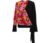 Woman Paneled Floral-print Silk Wrap Top Claret