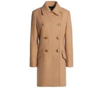 Double-breasted wool-blend felt coat