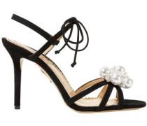 Tallulah Faux Pearl-embellished Suede Sandals Black