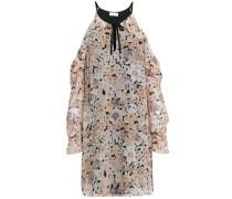 Amorita Cold-shoulder Silk-chiffon Mini Dress Beige