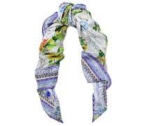 Embellished printed silk-twill scarf