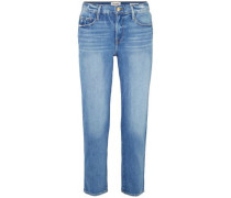 Cropped Faded High-rise Straight-leg Jeans Mid Denim