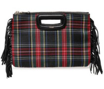 Fringed Checked Leather And Wool-twill Clutch Black Size --