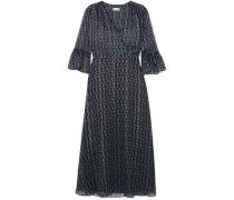 Woman Kantoinette Metallic Floral-print Chiffon Dress Black