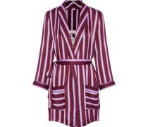 Ritz embroidered striped satin robe