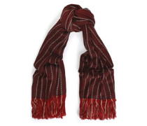 Fringed striped wool and cashmere-blend scarf