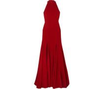 Woman Stretch-crepe Halterneck Gown Claret