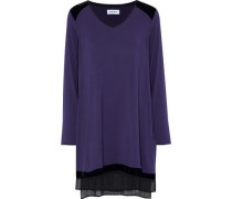 Velvet And Chiffon-trimmed Stretch Modal-jersey Nightdress Plum