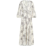 Woman Printed Linen Maxi Dress Ivory