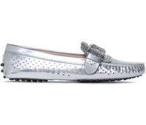 Studded Metallic Perforated Leather Loafers Silver