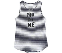 Printed striped linen top