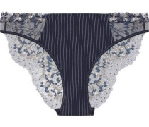 Embroidered tulle and stretch-silk low-rise briefs