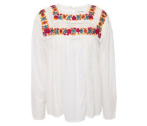 Woman Embroidered Crochet And Cotton-voile Top Ivory