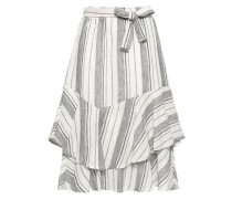 Layered Striped Linen And Cotton-blend Midi Skirt Off-white