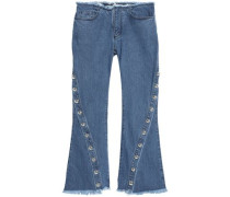 Button-embellished frayed mid-rise flared jeans