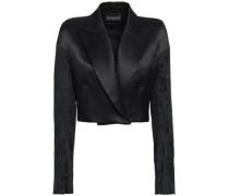 Cropped Jacquard-paneled Cotton-blend Sateen Blazer Black