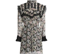 Lace-trimmed floral-print silk-georgette mini dress