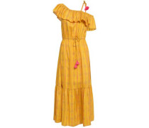 Miguelina One-shoulder Printed Silk-gauze Midi Dress Saffron