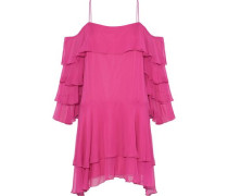 Lexis cold-shoulder ruffled silk-blend chiffon mini dress
