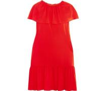 Ruffled crepe de chine mini dress