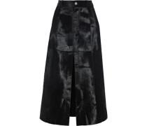 Vera Split-front Calf Hair Midi Skirt Black