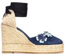Woven and floral-appliquéd suede wedge espadrilles