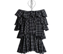 Off-the-shoulder Checked Tiered Cotton Top Black