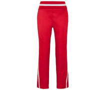 Twill Straight-leg Pants Red