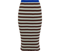 Striped Ribbed Cotton-blend Skirt Brown