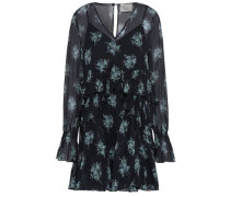 Farris Ruffled Floral-print Silk-georgette Mini Dress Midnight Blue